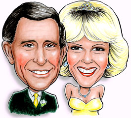caricature of Prince Charles and Camilla at their wedding