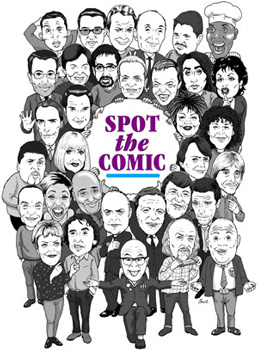 group caricature of famous comedians
