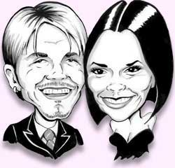 posh and becks caricature