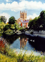 watercolour painting of river scene
